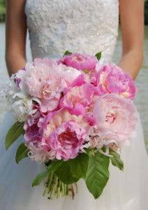 Bridal Bouquet with Raspberry Sundae and Sarah Bernhardt Peonies