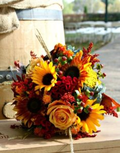 Flame Wedding Bouquet - bring the rustic colors in - perfect for Fall from PeonyHotline.com