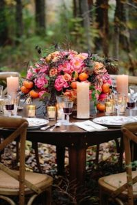 Thanksgiving Table Design with Coral Charm Peonies from Chile