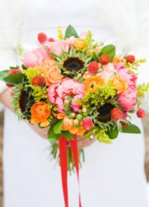 Coral Sunset Thanksgiving Bouquet